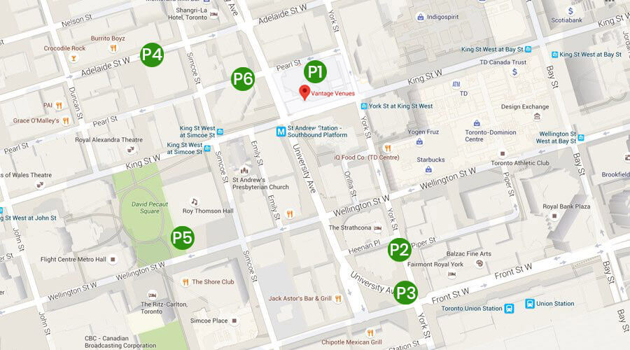 Google Map displaying parking locations near Vantage Venues in Toronto.
